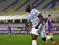 Football Soccer: Tim Cup Round of 16 Fiorentina - FC Internazionale Milano, Artemio Franchi  stadium, Florence, January 13, 2021. <br /> Inter's Romelu Lukaku celebrates after scoring during the Italian Tim Cup football match between Fiorentina and Inter at Florence's Artemio Franchi stadium, on January 13, 2021.  <br /> UPDATE IMAGES PRESS/Isabella Bonotto