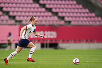 KASHIMA, JAPAN - AUGUST 2: Becky Sauerbrunn #4 of the United States goes forward during a game between Canada and USWNT at Kashima Soccer Stadium on August 2, 2021 in Kashima, Japan.