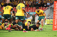 7th November 2020, Brisbane, Australia; Tri Nations International rugby union, Australia versus New Zealand;  Tupou Vaa'i of The Allblacks scores a try