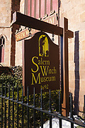 Salem Witch Museum in Salem, Massachusetts USA. This museum is about the Witch Trials of 1692. The statue of Roger Conant, the founder of Salem, can be seen in front of the museum.