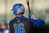 The batting helmet of Troy Maslowski (16) is covered with Bulldog stickers as he waits his turn to hit during the game against the Queens Royals at Intimidators Stadium on March 19, 2019 in Kannapolis, North Carolina. The Royals defeated the Bulldogs 6-5. (Brian Westerholt/Four Seam Images)