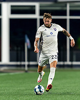 FOXBOROUGH, MA - SEPTEMBER 5: Curtis Thorn #23 of Tormenta FC passes the ball during a game between Tormenta FC and New England Revolution II at Gillette Stadium on September 5, 2021 in Foxborough, Massachusetts.