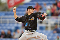 Akron RubberDucks starting pitcher Julian Merryweather (47) delivers a pitch during a game against the Binghamton Rumble Ponies on May 12, 2017 at NYSEG Stadium in Binghamton, New York.  Akron defeated Binghamton 5-1.  (Mike Janes/Four Seam Images)