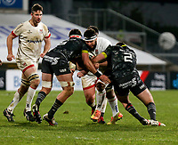 2nd January 2021 | Ulster vs Munster <br /> <br /> Marcell Coetzee is tackled by Billy Holland and Niall Scannell during the PRO14 Round 10 clash between Ulster Rugby and Munster Rugby at the Kingspan Stadium, Ravenhill Park, Belfast, Northern Ireland. Photo by John Dickson/Dicksondigital