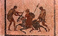 Roman Art:  Mosaic--Sileno sull'osino.  National Museum, Naples.