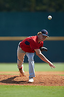 Ryan Higgins (30) of St Luke's School in New Canaan, CT playing for the Boston Red Sox scout team during the East Coast Pro Showcase at the Hoover Met Complex on August 4, 2020 in Hoover, AL. (Brian Westerholt/Four Seam Images)