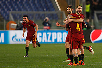 Roma players, from left, Alessandro Florenzi, Federico Fazio, Kostas Manolas and Radja Nainggolan celebrate at the end of the Uefa Champions League round of 16 second leg soccer match between Roma and Shakhtar Donetsk at Rome's Olympic stadium, March 13, 2018. Roma won. 1-0 to join the quarter finals.<br /> UPDATE IMAGES PRESS/Riccardo De Luca