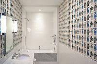Modern bathroom with robot wallpaper