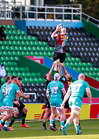17th April 2021; Twickenham Stoop, London, England; English Premiership Rugby, Harlequins versus Worcester Warriors; Tom Lawday of Harlequins taking the ball high in the line out