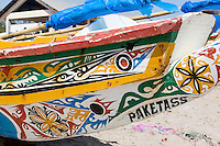 Dakar, Senegal.   Painted Designs on Fishing Boats on the Beach at Soumbedioune Fishing Village, now a part of the metropolis of Dakar.