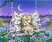 Kayomi, CUTE ANIMALS, paintings, MoonlightSwing_M, USKH102,#AC# illustrations, pinturas ,everyday