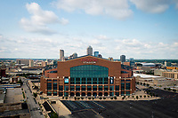 Lucas Oil Stadium, home of the Indianapolis Colts of the NFL, is pictured from the air in downtown Indianapolis, Indiana on Saturday, July 17, 2021. (Photo by James Brosher)