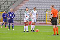 Luna Vanzeir (10) of OHL and Hannah Eurlings (9) of OHL before starting the female soccer game between RSC Anderlecht Dames and Oud Heverlee Leuven on the seventh matchday of play off 1 of the 2020 - 2021 season of Belgian Womens Super League , saturday 15 th of May 2021  in Brussels , Belgium . PHOTO SPORTPIX.BE | SPP | STIJN AUDOOREN