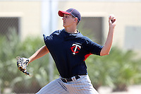 Minnesota Twins pitcher Austin Malinowski #39 during an Instructional League game against the Boston Red Sox at Red Sox Minor League Training Complex in Fort Myers, Florida;  October 3, 2011.  (Mike Janes/Four Seam Images)