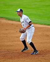 22 June 2009: Vermont Lake Monsters' first baseman Ronnie Labrie in action against the Tri-City ValleyCats at Historic Centennial Field in Burlington, Vermont. The Lake Monsters defeated the visiting ValleyCats 5-4 in extra innings. Mandatory Photo Credit: Ed Wolfstein Photo