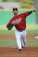 Edgar Ibarra Pitcher Elizabethton Twins (Minnesota Twins) delivers a pitch at Joe O'Brien Stadium August 17, 2009 in Elizabethton, TN (Photo by Tony Farlow/Four Seam Images)