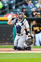 Mike Zunino (3) of the Tacoma Rainiers on defense against the Salt Lake Bees in Pacific Coast League action at Smith's Ballpark on June 13, 2016 in Salt Lake City, Utah. The Rainiers defeated the Bees 3-1.  (Stephen Smith/Four Seam Images)