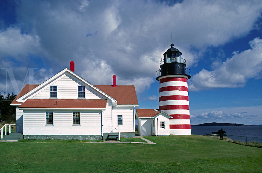 WEST QUODDY HEAD LIGHTHOUSE was commisioned in 1808 by President THOMAS JEFFERSON and rebuilt in 1858 - MAINE, USA
