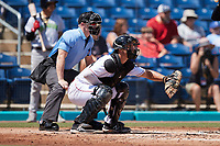 Kannapolis Cannon Ballers catcher Adam Hackenberg (29) sets a target as home plate umpire Lane Cullipher looks on during the game against the Lynchburg Hillcats at Atrium Health Ballpark on August 29, 2021 in Kannapolis, North Carolina. (Brian Westerholt/Four Seam Images)