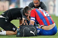 Scott Dann of Crystal Palace receiving treatment during the Carabao Cup 2nd round match between Crystal Palace and Colchester United at Selhurst Park, London, England on 27 August 2019. Photo by Carlton Myrie / PRiME Media Images.
