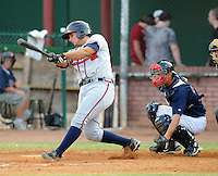 Catcher Ryan Delgado (33) of the Danville Braves in a game against the Elizabethton Twins on July 16, 2010, at Joe O'Brien Field in Elizabethton, Tenn. Photo by: Tom Priddy/Four Seam Images