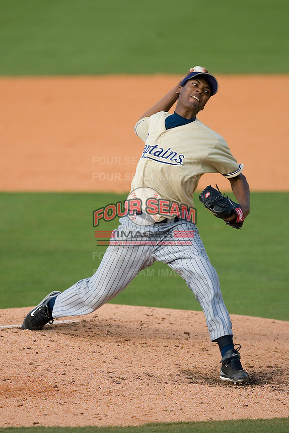 Starting pitcher Alexander Perez #45 of the Lake County Captains in action versus the Kannapolis Intimidators at Fieldcrest Cannon Stadium May 3, 2009 in Kannapolis, North Carolina. (Photo by Brian Westerholt / Four Seam Images)