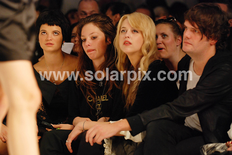 **ALL ROUND PICTURES FROM SOLARPIX.COM**.**WORLDWIDE SYNDICATION RIGHTS**.Celebrities at the PPQ fashion show at London Fashion Week..This pic:  Pixi (far left) & Peaches Geldof.JOB REF: 7322    CRD      DATE: 14.09,08.**MUST CREDIT SOLARPIX.COM OR DOUBLE FEE WILL BE CHARGED* *UNDER NO CIRCUMSTANCES IS THIS IMAGE TO BE REPRODUCED FOR ANY ONLINE EDITION WITHOUT PRIOR PERMISSION*
