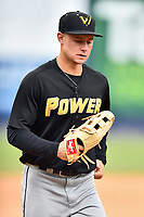 West Virginia Power center fielder Jarred Kelenic (10) during game one of a double header against the Asheville Tourists at McCormick Field on April 20, 2019 in Asheville, North Carolina. The Tourists defeated the Power 12-7. (Tony Farlow/Four Seam Images)