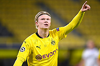 DORTMUND, GERMANY - NOVEMBER 24 : Erling Braut Haaland forward of Borussia Dortmund celebrates scoring the opening goal during the UEFA Champions League Group stage - group F, 2nd leg match between Borussia Dortmund and Club Brugge at the Signal Iduna Park stadium on November 24, 2020 in Dortmund, Germany, 24/11/2020 ( Photo by Nico Vereecken / Photo News<br /> Borussia Dortmund - Club Brugge <br /> Champions League 2020/2021<br /> Photo Photonews / Panoramic / Insidefoto <br /> Italy Only