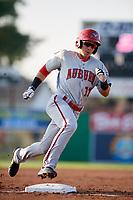 Auburn Doubledays center fielder Ricardo Mendez (17) runs the bases during a game against the Batavia Muckdogs on June 28, 2018 at Dwyer Stadium in Batavia, New York.  Auburn defeated Batavia 14-9.  (Mike Janes/Four Seam Images)