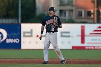 06 June 2010: Second base Luc Piquet of Rouen is seen during the 2010 Baseball European Cup match won 10-8 by the Rouen Huskies over AVG Draci Brno, at the AVG Arena, in Brno, Czech Republic.