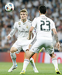Real Madrid's Toni Kroos (l) and Isco during Champions League 2014/2015 Semi-finals 2nd leg match.May 13,2015. (ALTERPHOTOS/Acero)