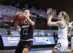SIOUX FALLS, SD - MARCH 6: Sophie Johnston #42 of the Omaha Mavericks takes the ball tot he basket against the |South Dakota State Jackrabbits during the Summit League Basketball Tournament at the Sanford Pentagon in Sioux Falls, SD. (Photo by Richard Carlson/Inertia)