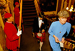 Fishmongers Hall in the City of London. The Thames  Waterman wear their traditional ceremonial uniform. Worshipful Company of Fishmongers hold an annual  banquet for the fish trade 1992 1990s.