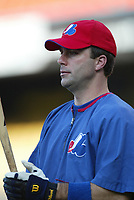 Todd Zeile of the Montreal Expos during a 2003 season MLB game at Dodger Stadium in Los Angeles, California. (Larry Goren/Four Seam Images)