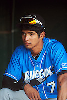 Hudson Valley Renegades outfielder Jose Paez (7) before a game against the Vermont Lake Monsters on September 3, 2015 at Centennial Field in Burlington, Vermont.  Vermont defeated Hudson Valley 4-1.  (Mike Janes/Four Seam Images)