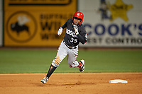 Chattanooga Lookouts Alfredo Rodriguez (35) running the bases during a Southern League game against the Birmingham Barons on May 1, 2019 at Regions Field in Birmingham, Alabama.  Chattanooga defeated Birmingham 5-0.  (Mike Janes/Four Seam Images)