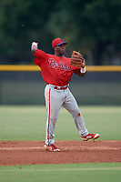 GCL Phillies East shortstop Wilfredo Flores (2) throws to first base during a Gulf Coast League game against the GCL Yankees East on July 31, 2019 at Yankees Minor League Complex in Tampa, Florida.  GCL Phillies East defeated the GCL Yankees East 4-3 in the second game of a doubleheader.  (Mike Janes/Four Seam Images)