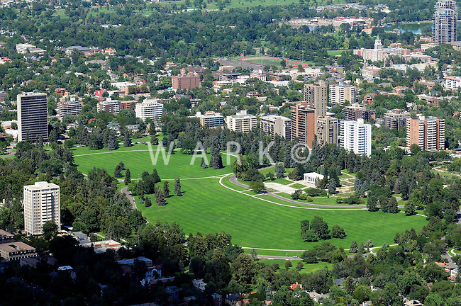 Aerial Denver, Colorado. Cheesman Park