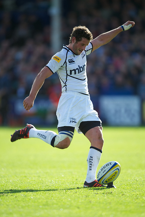 Nick MacLeod of Sale Sharks takes a conversion attempt during the Aviva Premiership match between Bath Rugby and Sale Sharks at the Recreation Ground on Saturday 29th September 2012 (Photo by Rob Munro)