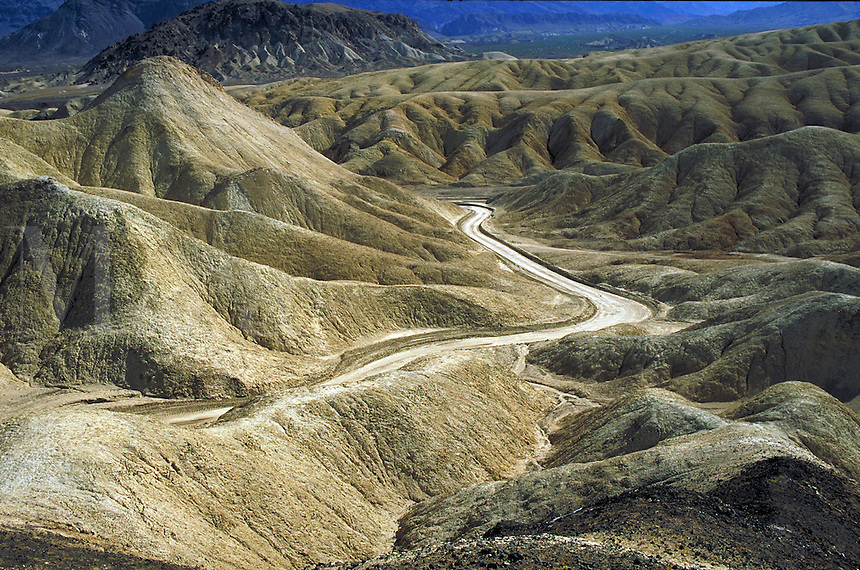 Roads in Death Valley National Monument, California(20 Mule Team Canyon). Desert, Dry, Desolate, Lonely, Environment. California USA Death Valley.