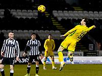 2nd February 2021; St Mirren Park, Paisley, Renfrewshire, Scotland; Scottish Premiership Football, St Mirren versus Hibernian; Christian Doidge of Hibernian gets his header towards goal