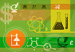 Montage of currency symbols and science objects