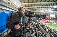 David Ivor in the gantry outside of the broadcast suite and studio for the Swansea City AFC live broadcasts at the Liberty Stadium, Wales, UK. Wednesday 30 November 2018