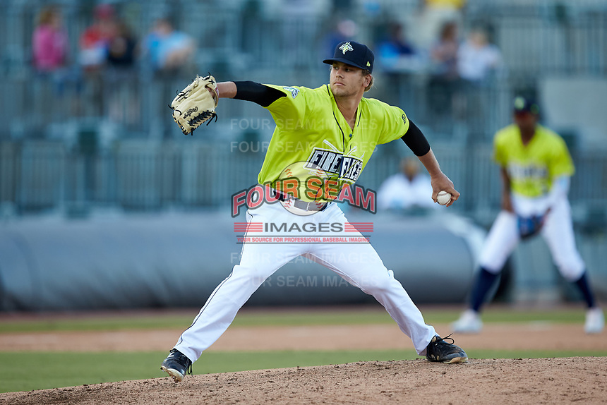 Columbia Fireflies relief pitcher Andrew Mitchell (25) in action against the Rome Braves at Segra Park on May 13, 2019 in Columbia, South Carolina. The Fireflies walked-off the Braves 2-1 in game one of a doubleheader. (Brian Westerholt/Four Seam Images)