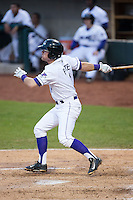 Jake Peter (3) of the Winston-Salem Dash follows through on his swing against the Potomac Nationals at BB&T Ballpark on April 30, 2015 in Winston-Salem, North Carolina.  The Nationals defeated the Dash 5-4..  (Brian Westerholt/Four Seam Images)