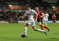 Pictured: Ben Davies of Swansea. Tuesday 28 August 2012<br /> Re: Capital One Cup game, Swansea City FC v Barnsley at the Liberty Stadium, south Wales.