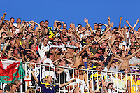 Valencia, Spain. Thursday 19 September 2013<br /> Pictured: Ecstatic Swansea supporters celebrating Wilfried Bony's opening goal.<br /> Re: UEFA Europa League game against Valencia C.F v Swansea City FC, at the Estadio Mestalla, Spain,