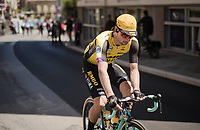Primoz Roglic (SVK/Jumbo-Visma) back to being a 'regular Joe' at the race start in Vasto after letting go of the Malia Rosa / Pink Jersey the day before (in the hopes of reclaiming it later in the race)<br /> <br /> Stage 7: Vasto to L'Aquila (180km)<br /> 102nd Giro d'Italia 2019<br /> <br /> ©kramon