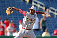Florida State Seminoles pitcher Brandon Johnson #51 delivers a pitch during a scrimmage against the Philadelphia Phillies at Brighthouse Field on February 29, 2012 in Clearwater, Florida.  Philadelphia defeated Florida State 6-1.  (Mike Janes/Four Seam Images)